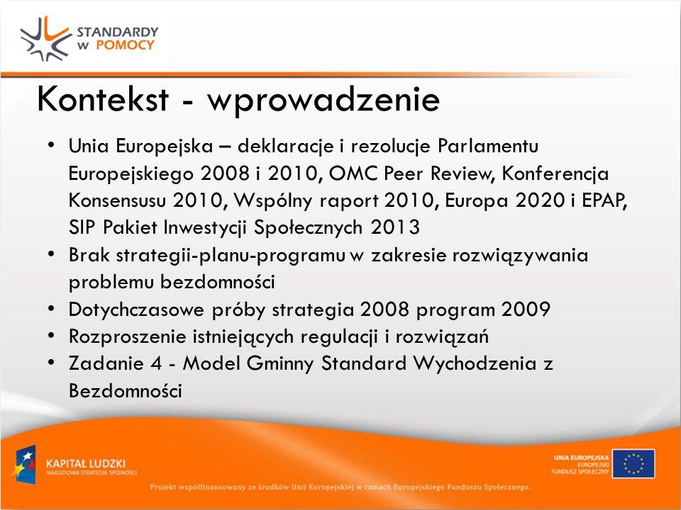 Kontekst - wprowadzenie Unia Europejska – deklaracje i rezolucje Parlamentu Europejskiego 2008 i 2010, OMC Peer Review, Konferencja Konsensusu 2010, Wspólny raport 2010, Europa 2020 i EPAP, SIP Pakiet Inwestycji Społecznych 2013 Brak strategii-planu-programu w zakresie rozwiązywania problemu bezdomności Dotychczasowe próby strategia 2008 program 2009 Rozproszenie istniejących regulacji i rozwiązań Zadanie 4 - Model Gminny Standard Wychodzenia z Bezdomności