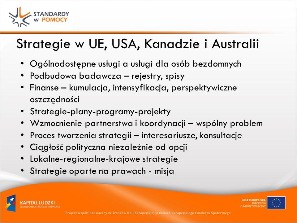 Strategie w UE, USA, Kanadzie i Australii Ogólnodostępne usługi a usługi dla osób bezdomnych Podbudowa badawcza – rejestry, spisy Finanse – kumulacja, intensyfikacja, perspektywiczne oszczędności Strategie-plany-programy-projekty Wzmocnienie partnerstwa i koordynacji – wspólny problem Proces tworzenia strategii – interesariusze, konsultacje Ciągłość polityczna niezależnie od opcji Lokalne-regionalne-krajowe strategie Strategie oparte na prawach - misja