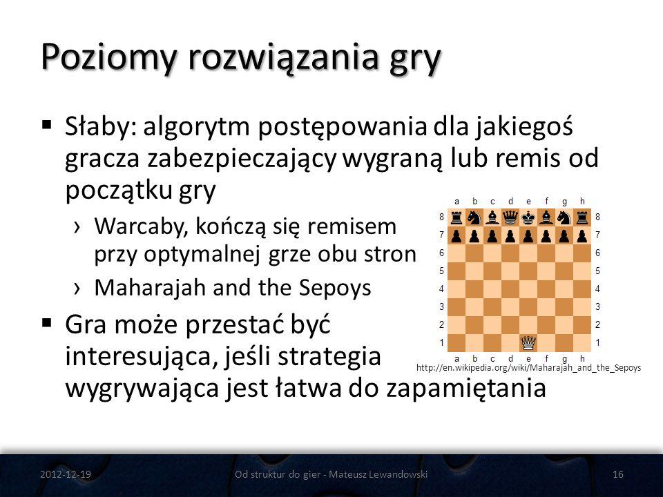 Słaby: algorytm postępowania dla jakiegoś gracza zabezpieczający wygraną lub remis od początku gry Warcaby, kończą się remisem przy optymalnej grze ob