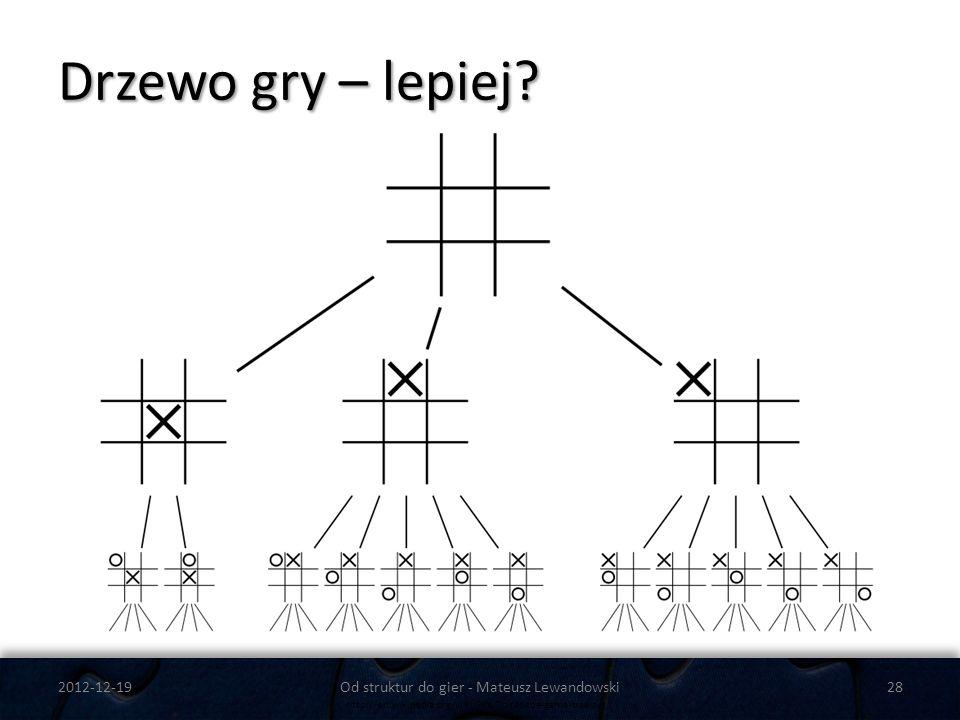 Drzewo gry – lepiej? 2012-12-19Od struktur do gier - Mateusz Lewandowski28 http://en.wikipedia.org/wiki/File:Tic-tac-toe-game-tree.svg