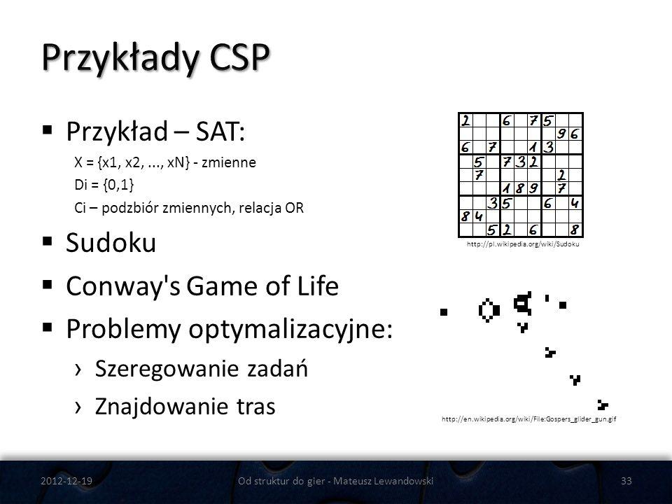 Przykład – SAT: X = {x1, x2,..., xN} - zmienne Di = {0,1} Ci – podzbiór zmiennych, relacja OR Sudoku Conway's Game of Life Problemy optymalizacyjne: S
