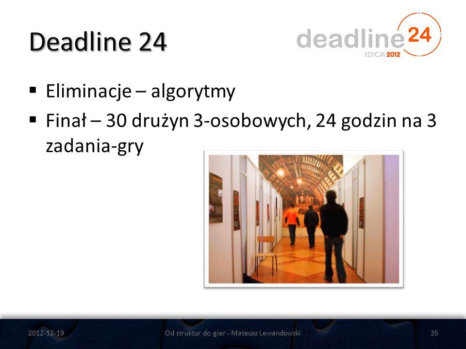 Eliminacje – algorytmy Finał – 30 drużyn 3-osobowych, 24 godzin na 3 zadania-gry 2012-12-19Od struktur do gier - Mateusz Lewandowski35