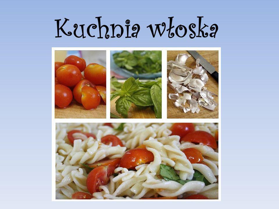 Tradycyjny posiłek włoski składa się z antipasto (przystawka),pasta (danie mączne albo zupa); główne danie to ryby, mięso albo drób wzbogacone risotto lub sałatką.