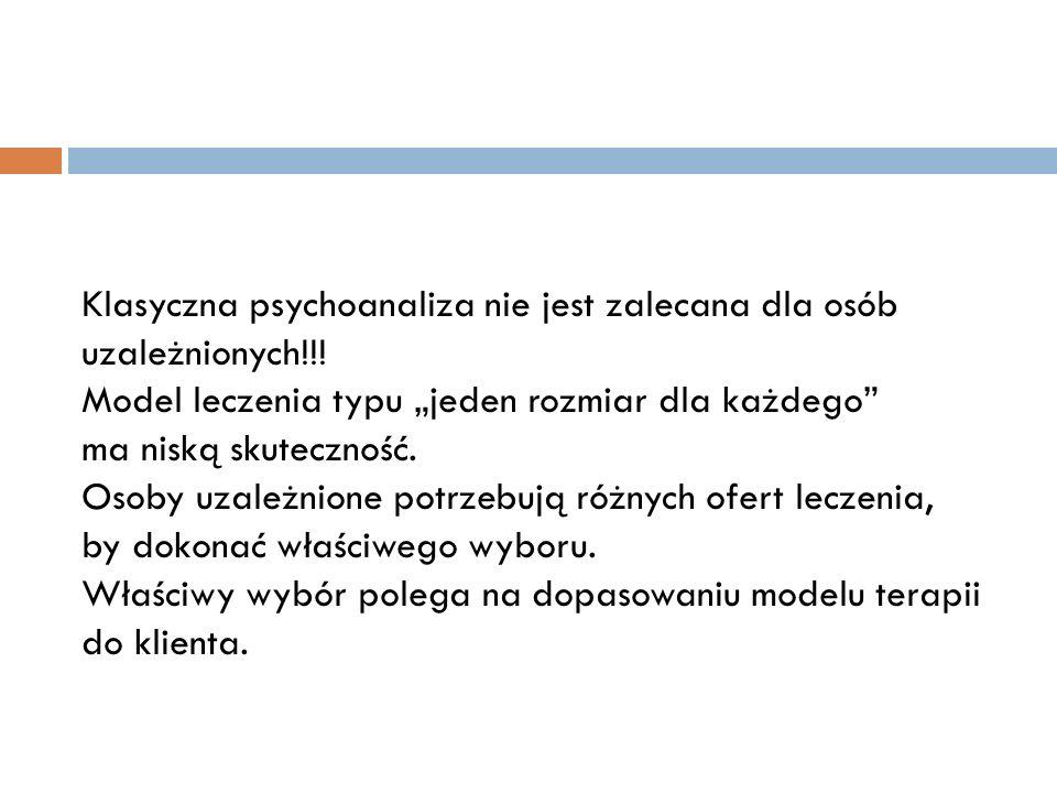 Klasyczna psychoanaliza nie jest zalecana dla osób uzależnionych!!! Model leczenia typu jeden rozmiar dla każdego ma niską skuteczność. Osoby uzależni