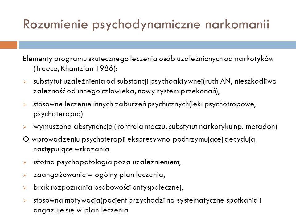 Rozumienie psychodynamiczne narkomanii Elementy programu skutecznego leczenia osób uzależnionych od narkotyków (Treece, Khantzian 1986): substytut uza
