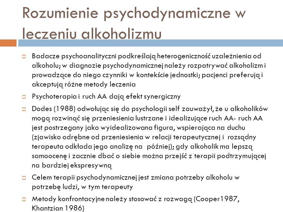 Rozumienie psychodynamiczne narkomanii Elementy programu skutecznego leczenia osób uzależnionych od narkotyków (Treece, Khantzian 1986): substytut uzależnienia od substancji psychoaktywnej(ruch AN, nieszkodliwa zależność od innego człowieka, nowy system przekonań), stosowne leczenie innych zaburzeń psychicznych(leki psychotropowe, psychoterapia) wymuszona abstynencja (kontrola moczu, substytut narkotyku np.