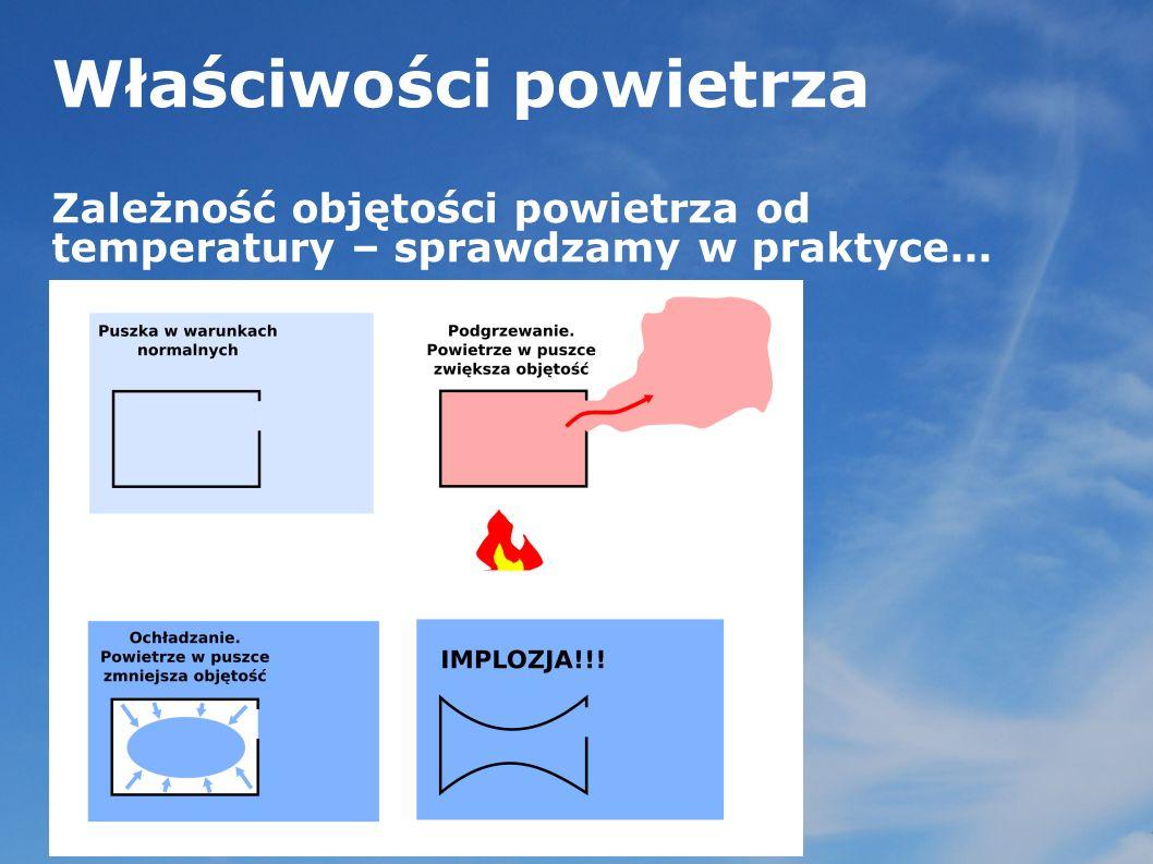 Właściwości powietrza Zależność gęstości i ciężaru powietrza od temperatury...