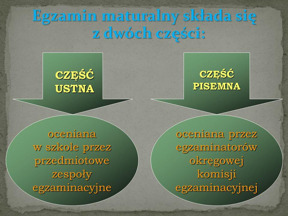 Egzamin maturalny składa się z dwóch części: oceniana przez egzaminatorów okręgowej komisji egzaminacyjnej oceniana w szkole przez przedmiotowe zespoły egzaminacyjne CZĘŚĆ PISEMNA CZĘŚĆUSTNA