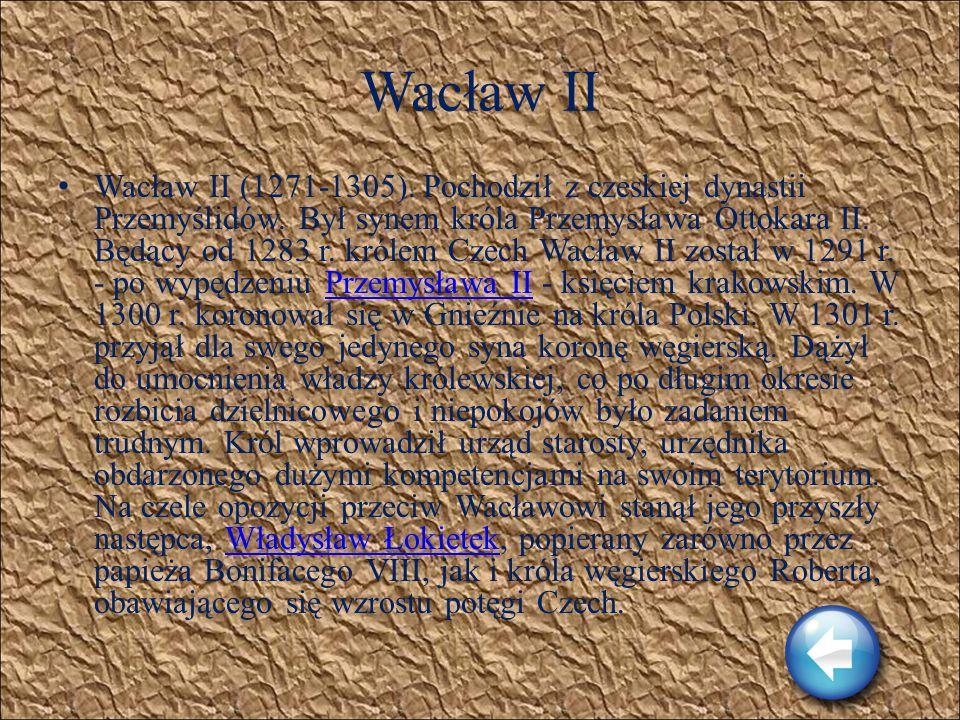 Przemysł II Przemysł II (1257-1296). Książę poznański. Śladem wielu poprzedników dążył do odbudowy państwa polskiego. W 1290 r. zawarł układ z bliskim