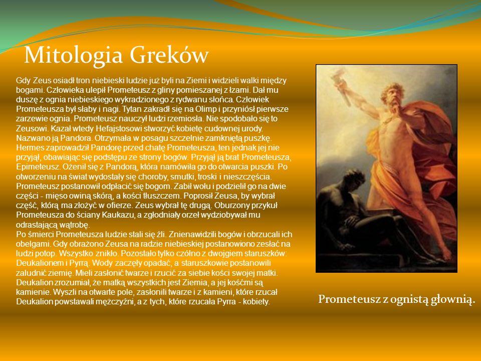 Mitologia Greków Na początku był Chaos. Z Chaosu wyłoniła się para bogów - Uranos i Gaja. Z ich związku narodził się ród tytanów, spośród których najs