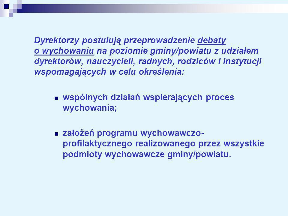 Dyrektorzy postulują przeprowadzenie debaty o wychowaniu na poziomie gminy/powiatu z udziałem dyrektorów, nauczycieli, radnych, rodziców i instytucji