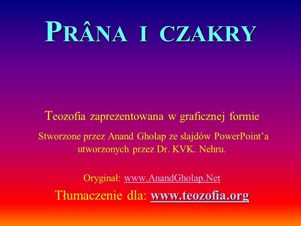 P RÂNA I CZAKRY T eozofia zaprezentowana w graficznej formie Stworzone przez Anand Gholap ze slajdów PowerPointa utworzonych przez Dr. KVK. Nehru. Ory