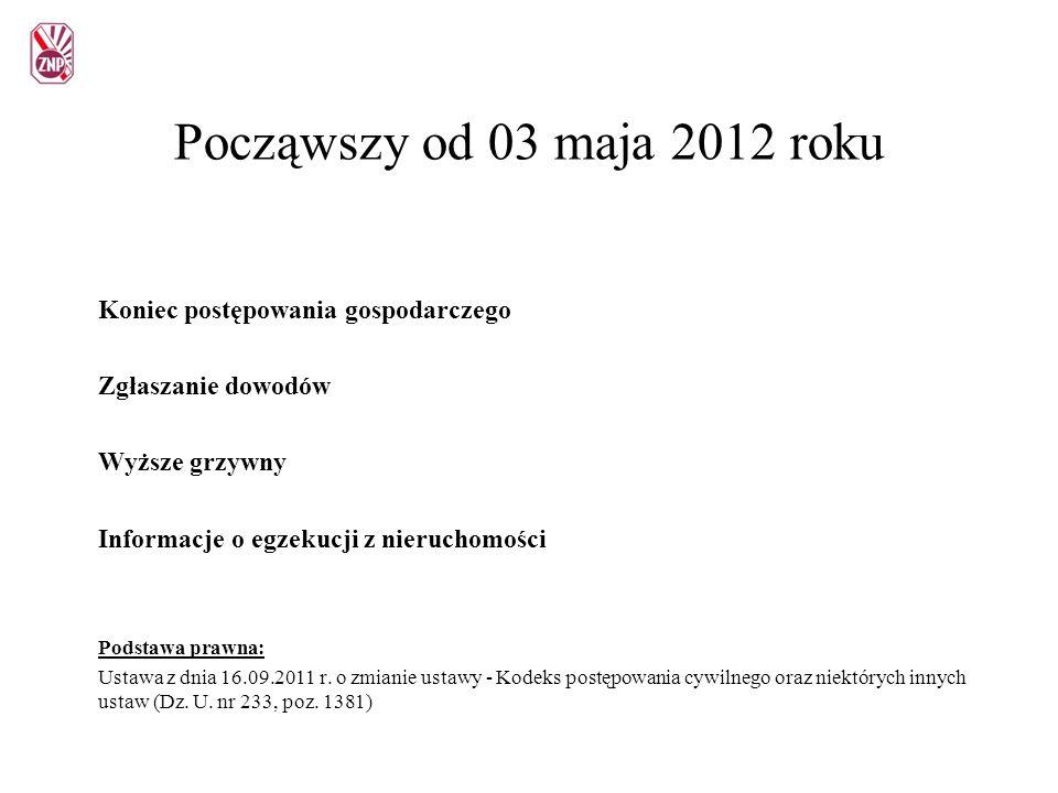 Począwszy od 03 maja 2012 roku Koniec postępowania gospodarczego Zgłaszanie dowodów Wyższe grzywny Informacje o egzekucji z nieruchomości Podstawa pra