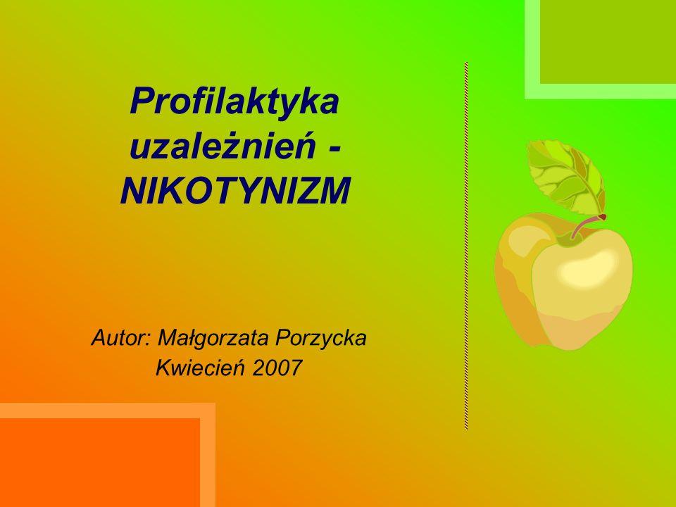 Profilaktyka uzależnień - NIKOTYNIZM Autor: Małgorzata Porzycka Kwiecień 2007