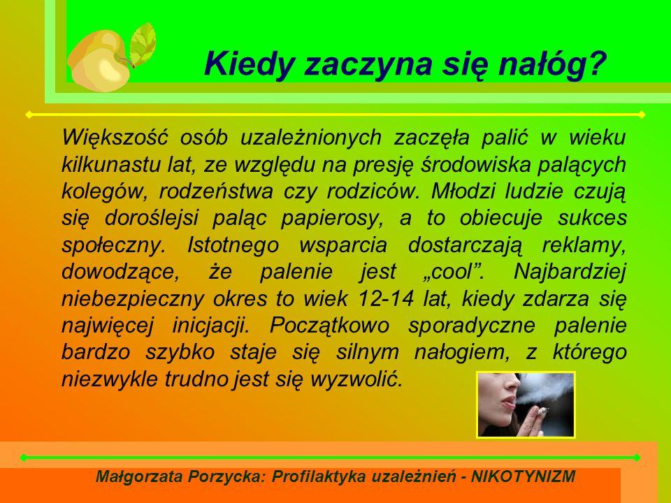 Małgorzata Porzycka: Profilaktyka uzależnień - NIKOTYNIZM Kiedy zaczyna się nałóg.
