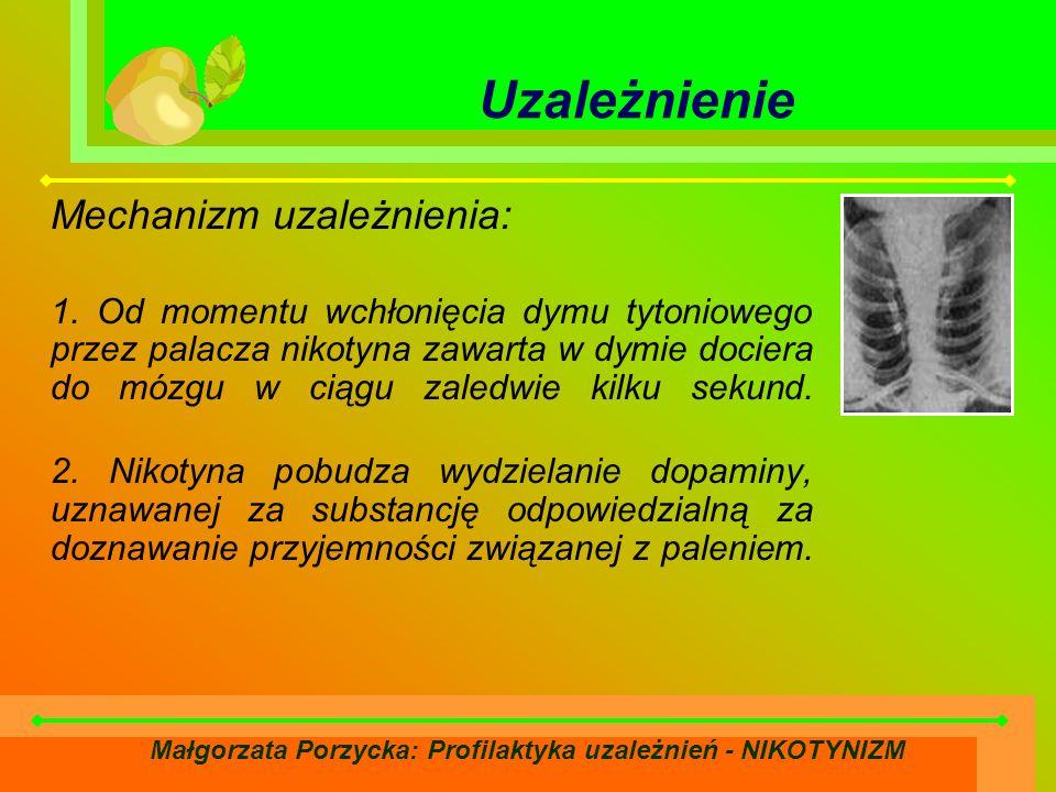 Małgorzata Porzycka: Profilaktyka uzależnień - NIKOTYNIZM Uzależnienie Mechanizm uzależnienia: 1.