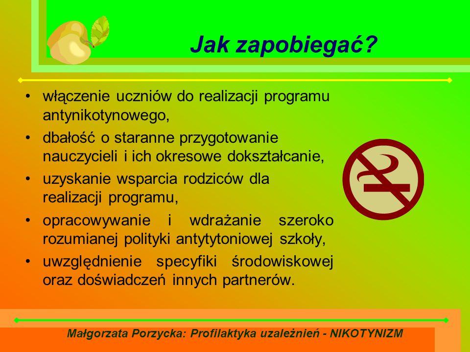 Małgorzata Porzycka: Profilaktyka uzależnień - NIKOTYNIZM Jak zapobiegać.