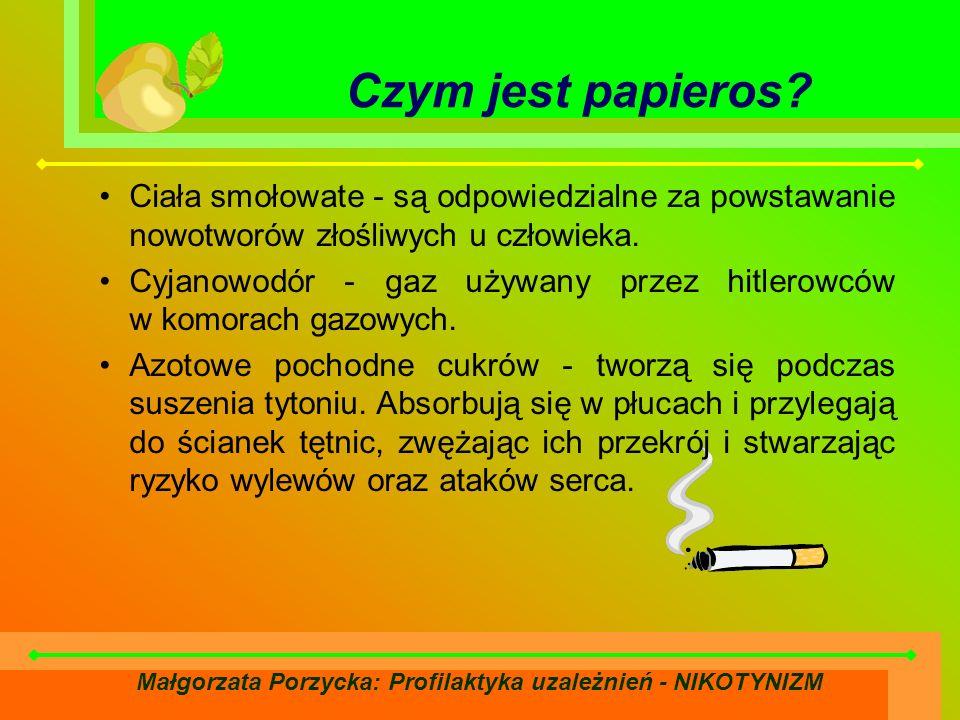 Małgorzata Porzycka: Profilaktyka uzależnień - NIKOTYNIZM Ciała smołowate - są odpowiedzialne za powstawanie nowotworów złośliwych u człowieka.