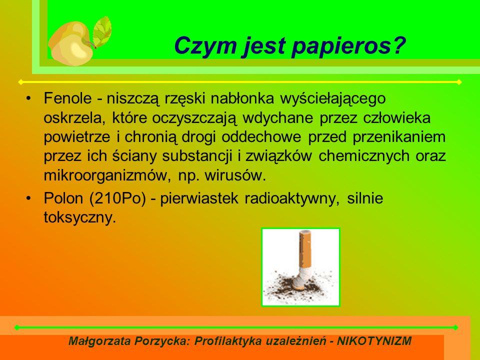 Małgorzata Porzycka: Profilaktyka uzależnień - NIKOTYNIZM Czym jest papieros.