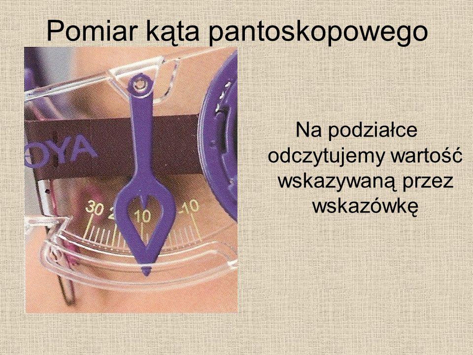Pomiar kąta pantoskopowego Na podziałce odczytujemy wartość wskazywaną przez wskazówkę