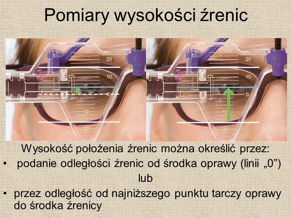 Pomiary wysokości źrenic Wysokość położenia źrenic można określić przez: podanie odległości źrenic od środka oprawy (linii 0) lub przez odległość od najniższego punktu tarczy oprawy do środka źrenicy