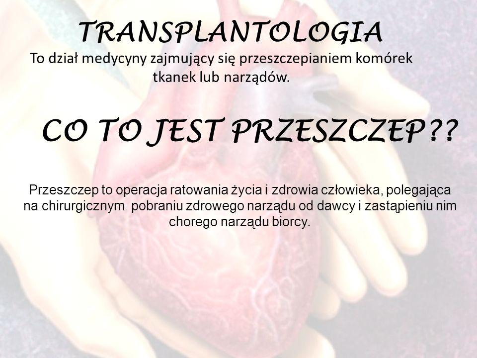 TRANSPLANTOLOGIA To dział medycyny zajmujący się przeszczepianiem komórek tkanek lub narządów. CO TO JEST PRZESZCZEP?? Przeszczep to operacja ratowani