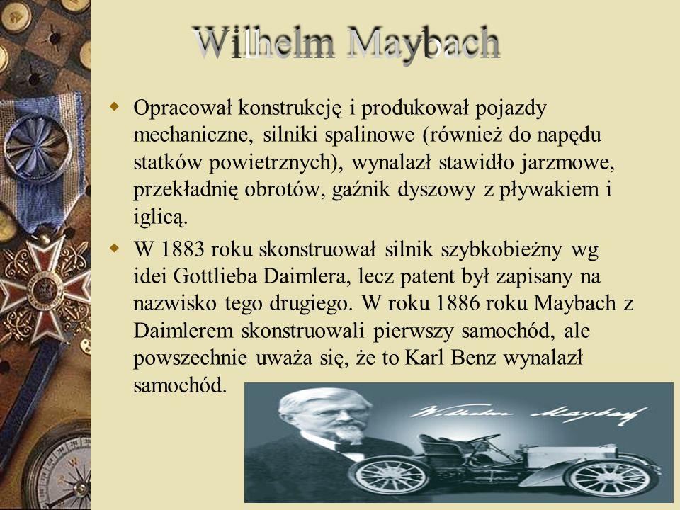 Opracował konstrukcję i produkował pojazdy mechaniczne, silniki spalinowe (również do napędu statków powietrznych), wynalazł stawidło jarzmowe, przekł
