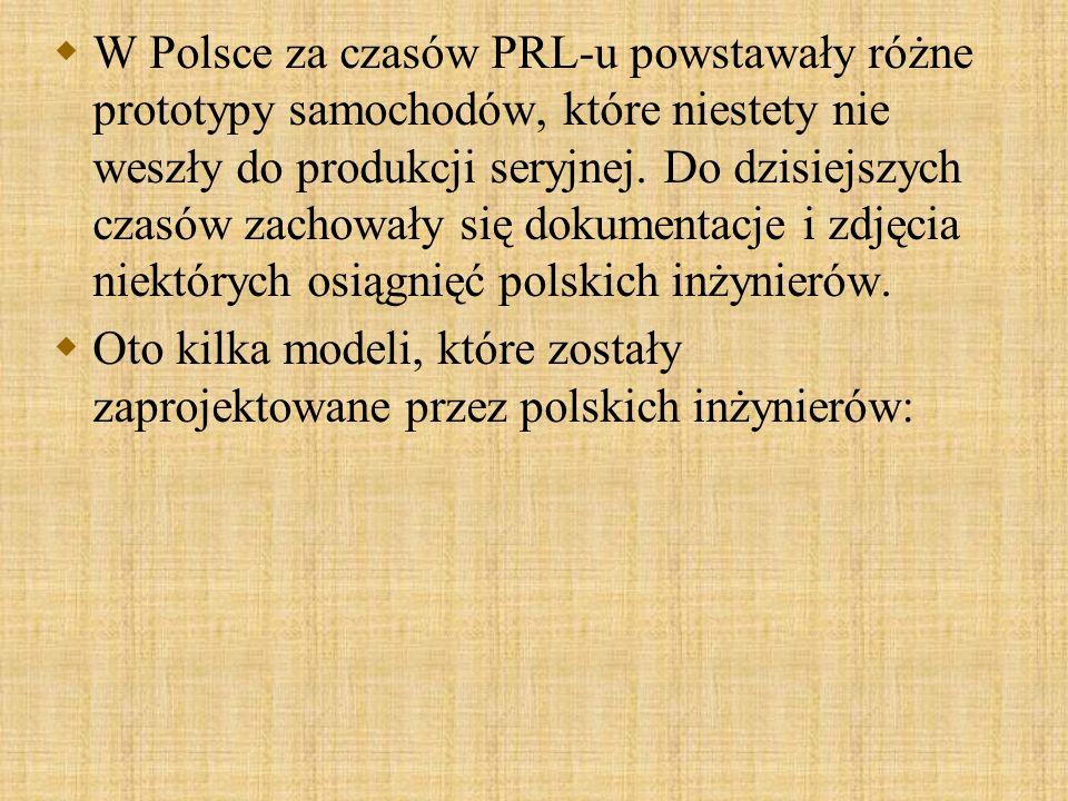 W Polsce za czasów PRL-u powstawały różne prototypy samochodów, które niestety nie weszły do produkcji seryjnej. Do dzisiejszych czasów zachowały się