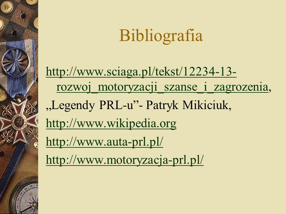 Bibliografia http://www.sciaga.pl/tekst/12234-13- rozwoj_motoryzacji_szanse_i_zagrozeniahttp://www.sciaga.pl/tekst/12234-13- rozwoj_motoryzacji_szanse