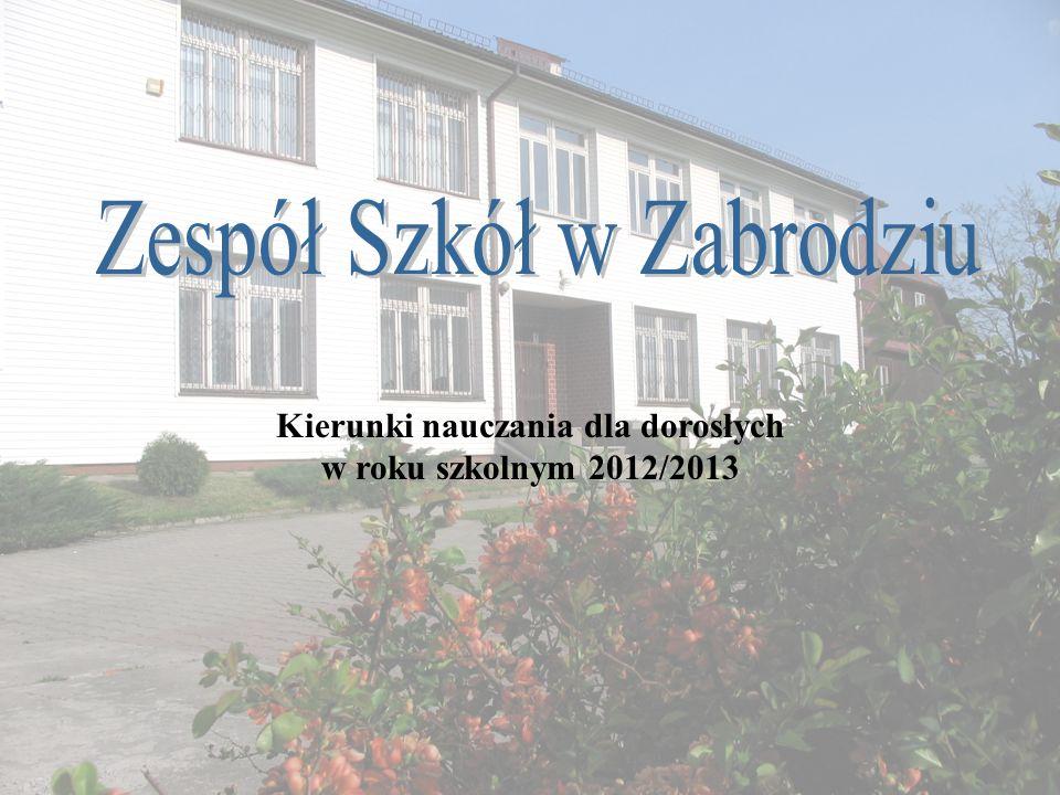 Kierunki nauczania dla dorosłych w roku szkolnym 2012/2013