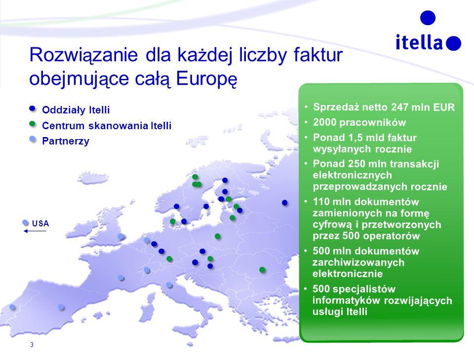 USA Rozwi ą zanie dla ka ż dej liczby faktur obejmuj ą ce cał ą Europ ę Oddziały Itelli Centrum skanowania Itelli Partnerzy Sprzedaż netto 247 mln EUR