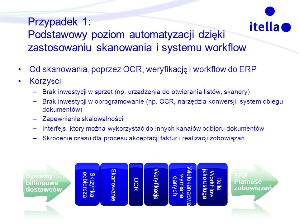 Przypadek 1: Podstawowy poziom automatyzacji dzi ę ki zastosowaniu skanowania i systemu workflow Od skanowania, poprzez OCR, weryfikacj ę i workflow d