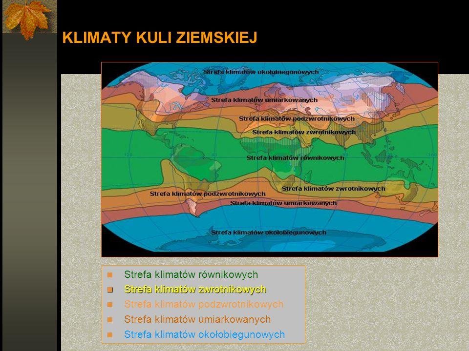 KLIMATY KULI ZIEMSKIEJ Strefa klimatów równikowych Strefa klimatów zwrotnikowych Strefa klimatów zwrotnikowych Strefa klimatów podzwrotnikowych Strefa