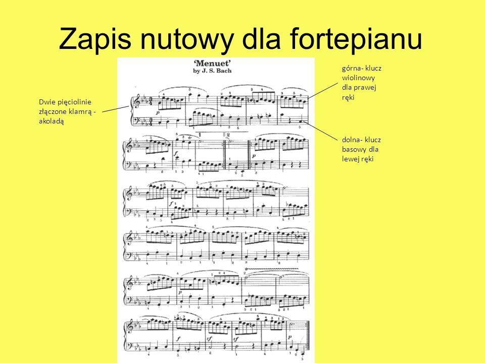 Zapis nutowy dla fortepianu Dwie pięciolinie złączone klamrą - akoladą górna- klucz wiolinowy dla prawej ręki dolna- klucz basowy dla lewej ręki
