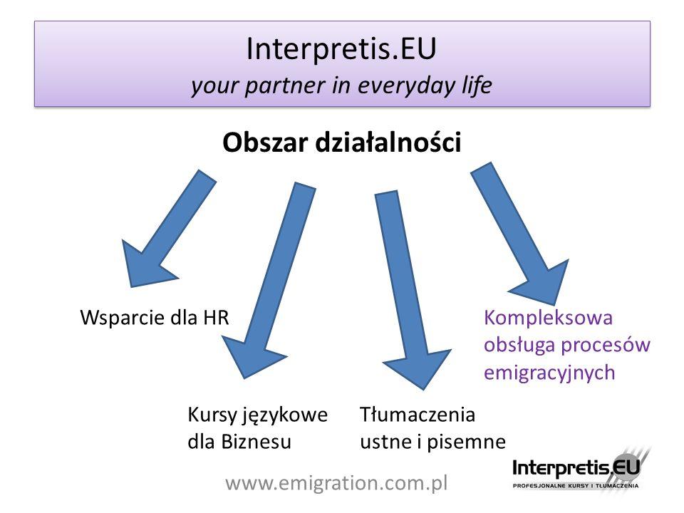 Interpretis.EU your partner in everyday life www.emigration.com.pl Obszar działalności Wsparcie dla HR Kursy językowe dla Biznesu Tłumaczenia ustne i