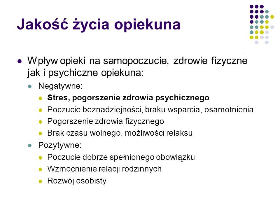 Jakość życia opiekuna Wpływ opieki na samopoczucie, zdrowie fizyczne jak i psychiczne opiekuna: Negatywne: Stres, pogorszenie zdrowia psychicznego Poc