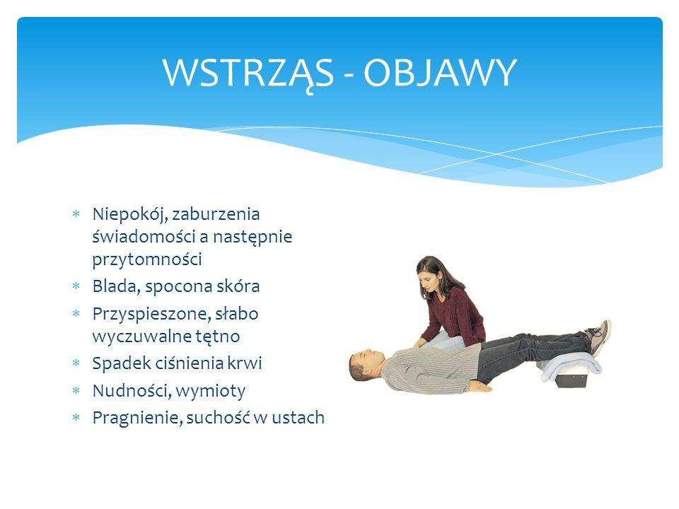 WSTRZĄS - OBJAWY Niepokój, zaburzenia świadomości a następnie przytomności Blada, spocona skóra Przyspieszone, słabo wyczuwalne tętno Spadek ciśnienia