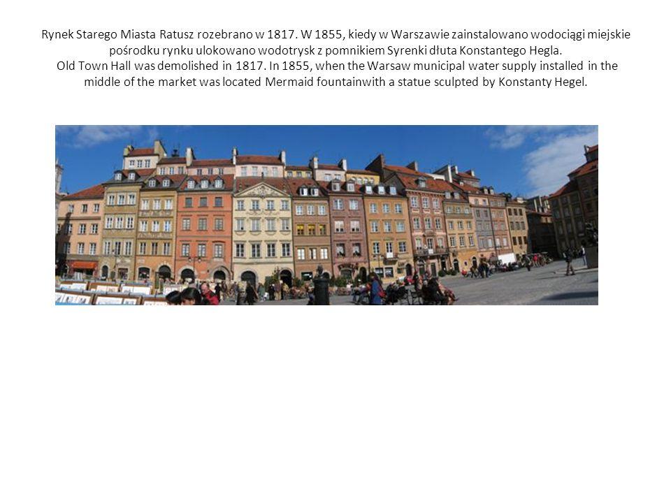 Rynek Starego Miasta Ratusz rozebrano w 1817.