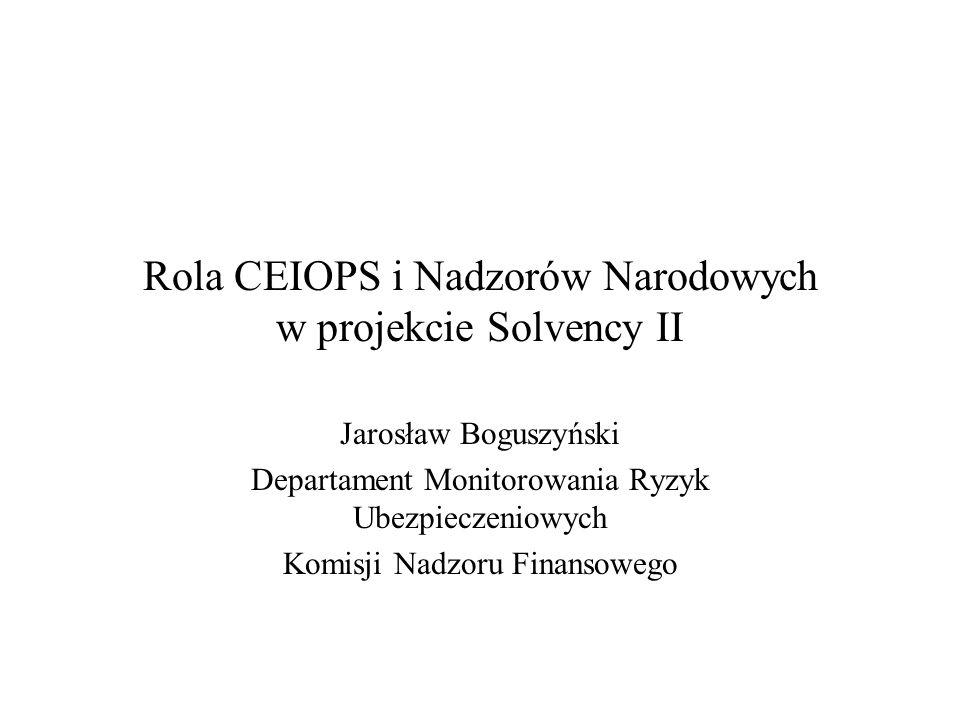 Rola CEIOPS i Nadzorów Narodowych w projekcie Solvency II Jarosław Boguszyński Departament Monitorowania Ryzyk Ubezpieczeniowych Komisji Nadzoru Finan