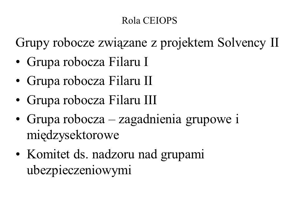 Grupy robocze związane z projektem Solvency II Grupa robocza Filaru I Grupa robocza Filaru II Grupa robocza Filaru III Grupa robocza – zagadnienia gru