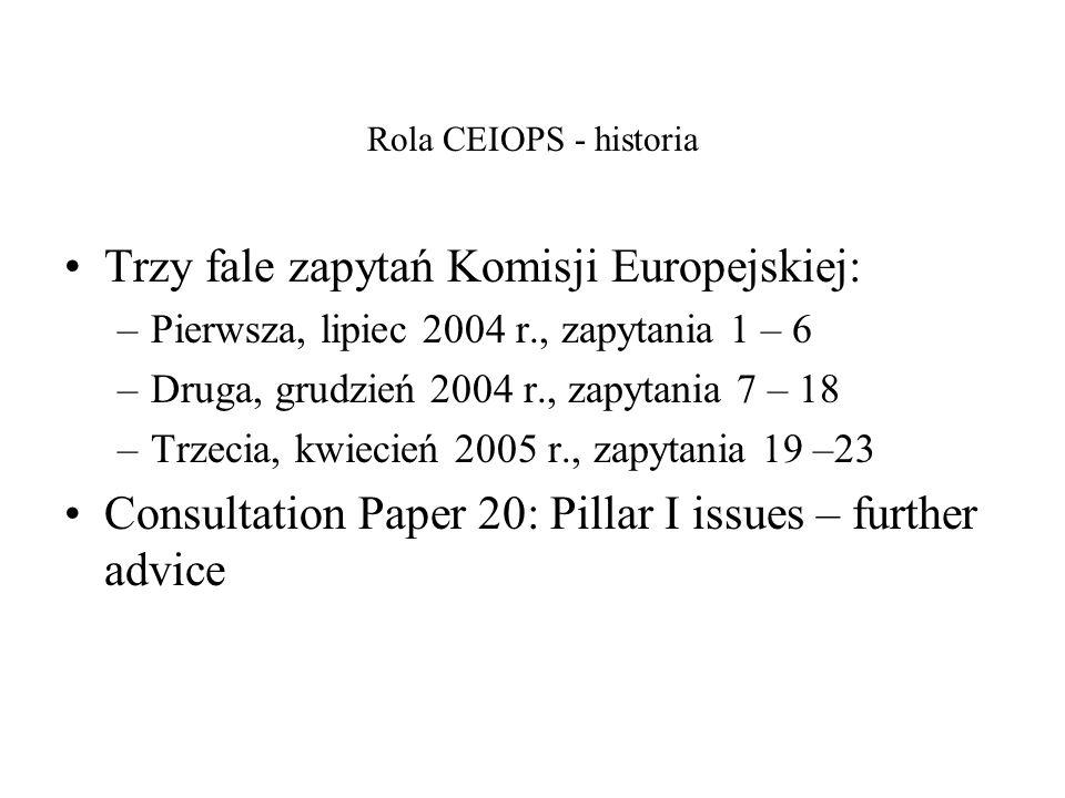 Rola CEIOPS - historia Trzy fale zapytań Komisji Europejskiej: –Pierwsza, lipiec 2004 r., zapytania 1 – 6 –Druga, grudzień 2004 r., zapytania 7 – 18 –