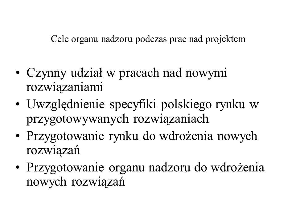 Cele organu nadzoru podczas prac nad projektem Czynny udział w pracach nad nowymi rozwiązaniami Uwzględnienie specyfiki polskiego rynku w przygotowywa
