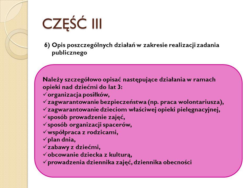 CZĘŚĆ III 6) Opis poszczególnych działań w zakresie realizacji zadania publicznego Należy szczegółowo opisać następujące działania w ramach opieki nad