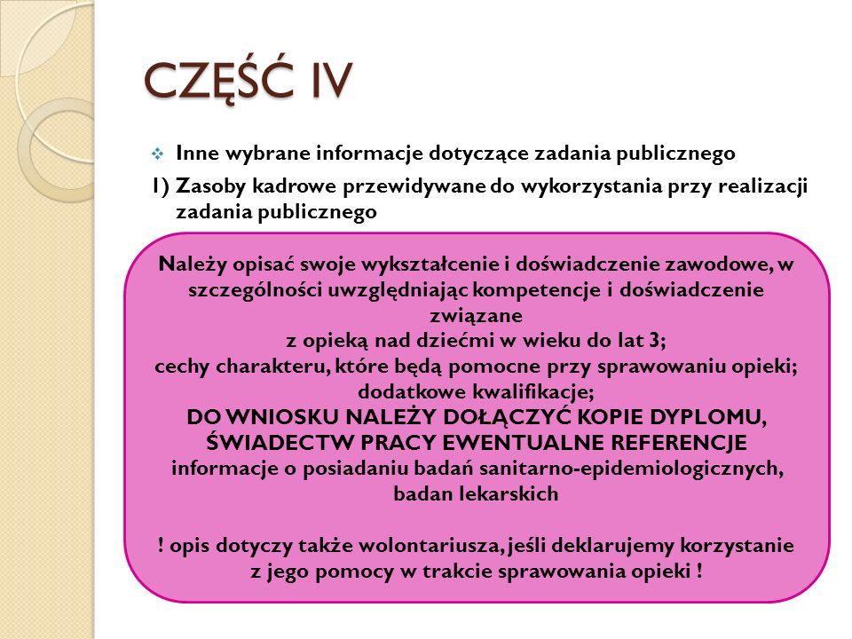 CZĘŚĆ IV Inne wybrane informacje dotyczące zadania publicznego 1) Zasoby kadrowe przewidywane do wykorzystania przy realizacji zadania publicznego Nal