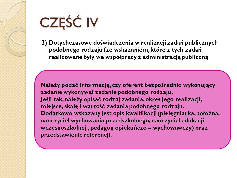 CZĘŚĆ IV 3) Dotychczasowe doświadczenia w realizacji zadań publicznych podobnego rodzaju (ze wskazaniem, które z tych zadań realizowane były we współp