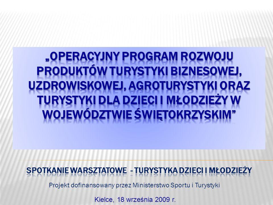 Projekt dofinansowany przez Ministerstwo Sportu i Turystyki Kielce, 18 września 2009 r.