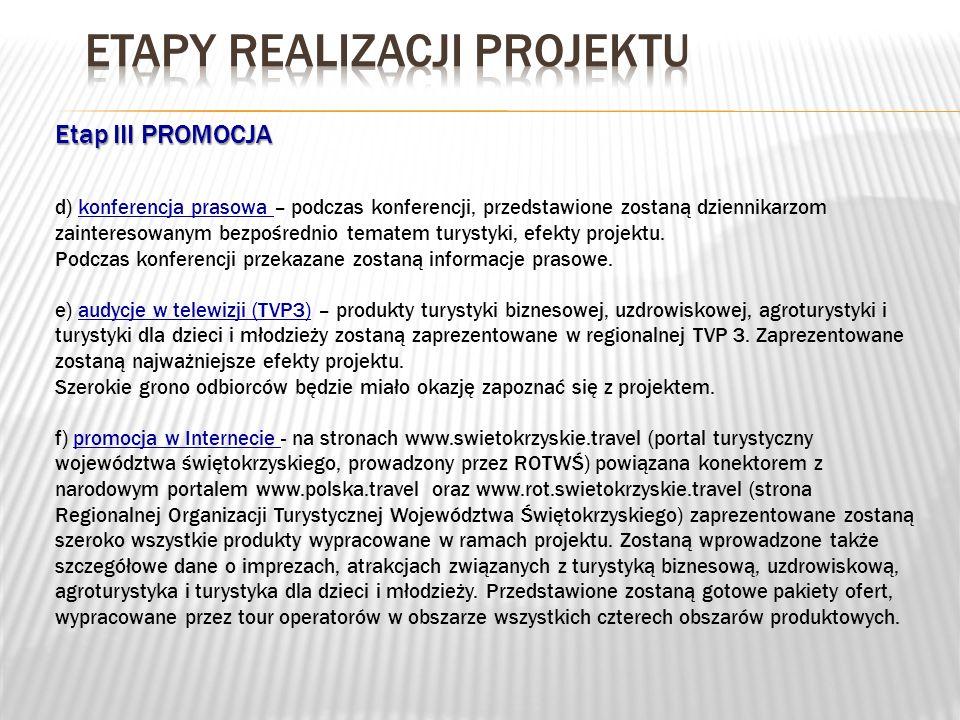 Etap III PROMOCJA d) konferencja prasowa – podczas konferencji, przedstawione zostaną dziennikarzom zainteresowanym bezpośrednio tematem turystyki, ef