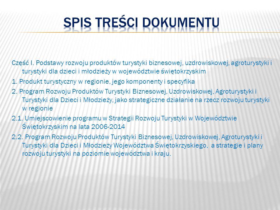 Część I. Podstawy rozwoju produktów turystyki biznesowej, uzdrowiskowej, agroturystyki i turystyki dla dzieci i młodzieży w województwie świętokrzyski