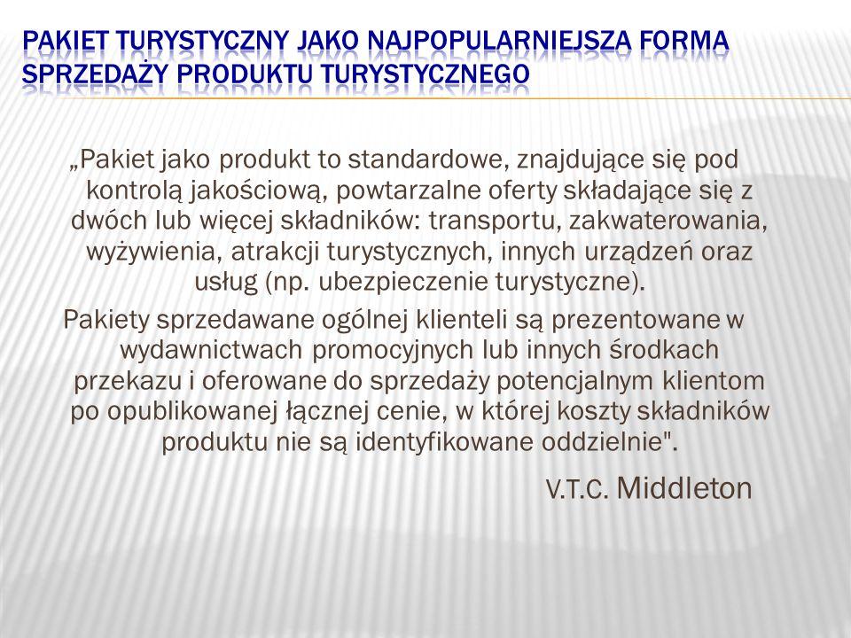 Pakiet jako produkt to standardowe, znajdujące się pod kontrolą jakościową, powtarzalne oferty składające się z dwóch lub więcej składników: transport