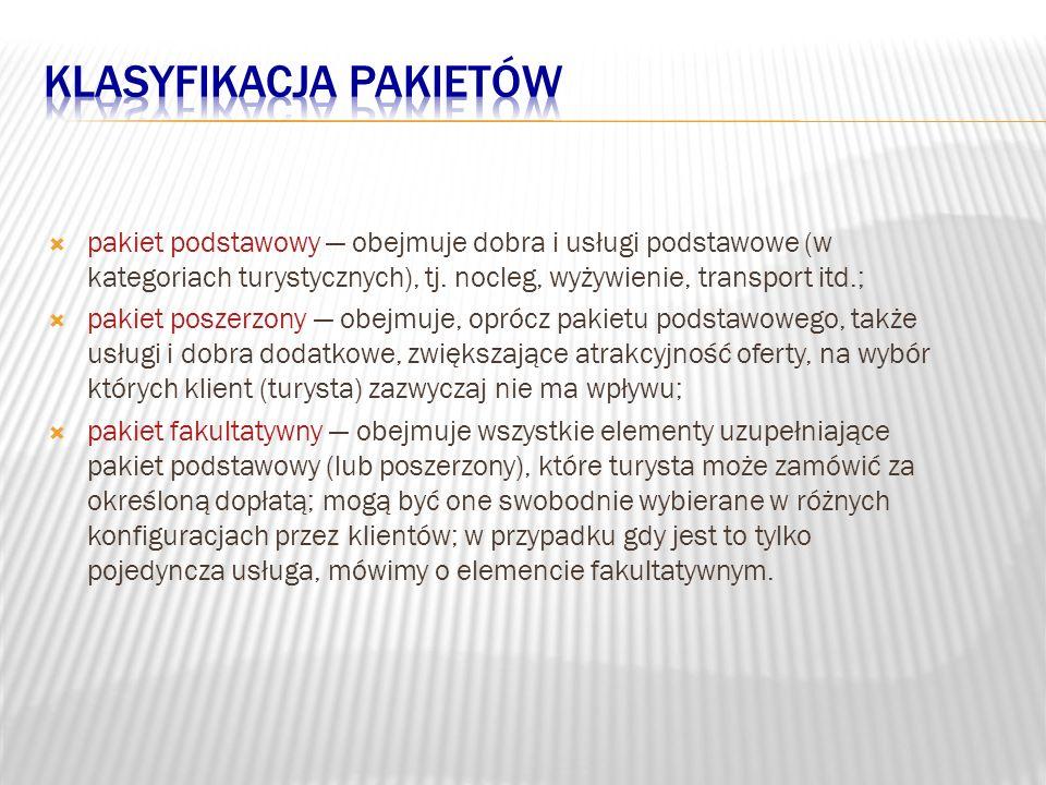 pakiet podstawowy obejmuje dobra i usługi podstawowe (w kategoriach turystycznych), tj. nocleg, wyżywienie, transport itd.; pakiet poszerzony obejmuj